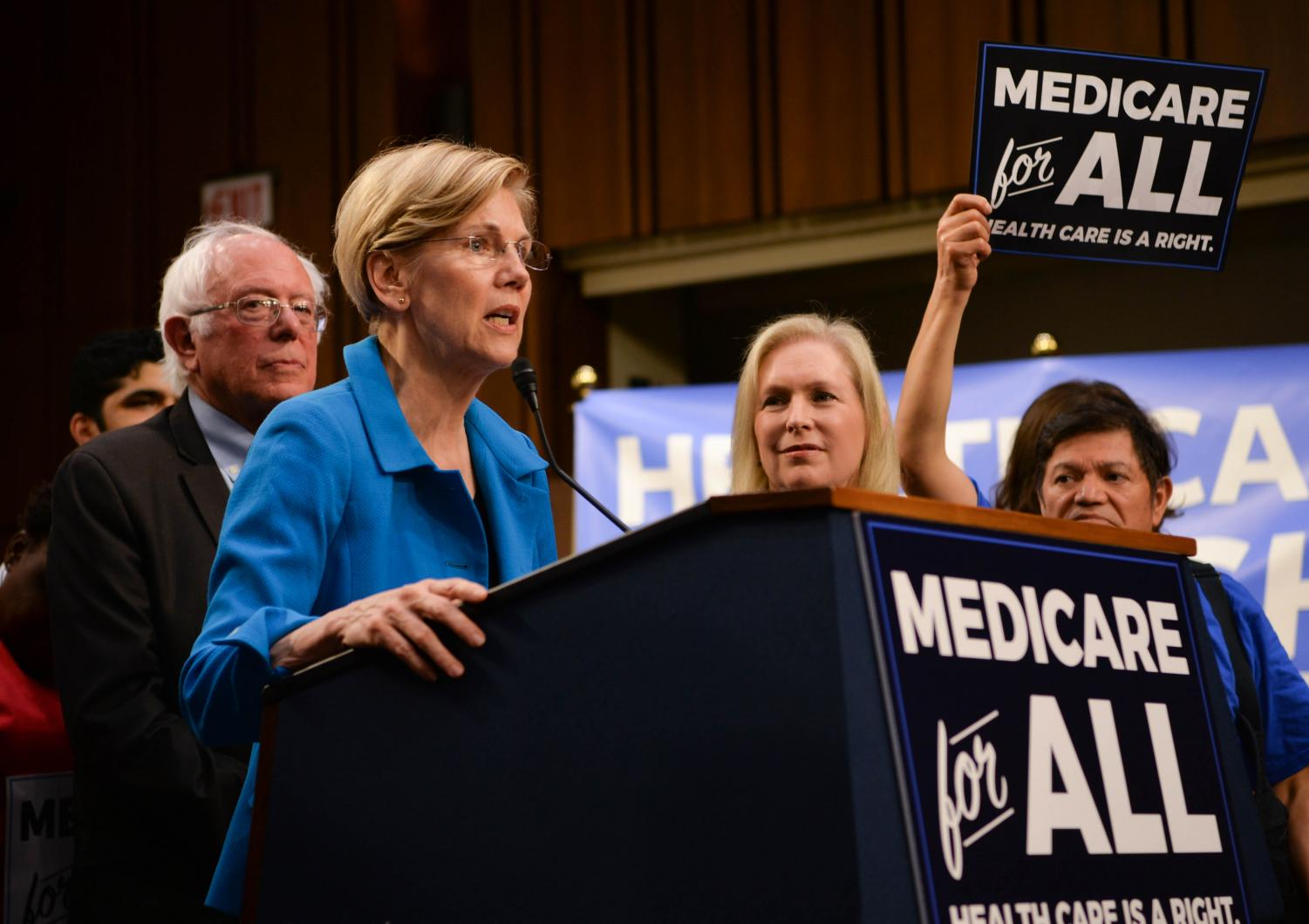 Democratic Senators speak in support of Medicare-for-All. Senator Bernie Sanders (I-VT) announced his Medicare-for-All bill Sept. 13, 2017. Presidential Candidate Senator Elizabeth Warren (D-MA) voiced her support  for the legislation.