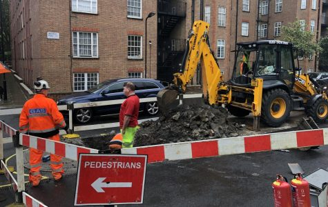 Gas line under construction outside Waverley Place entrance