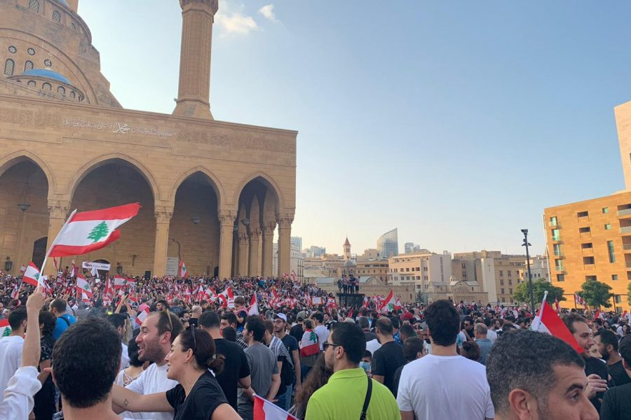Citizens gather in front of Mohammed Al Almin Mosque in Beirut, Lebanon.  Those connected to the country have been protesting daily all over the world since the original protests started Oct. 17.