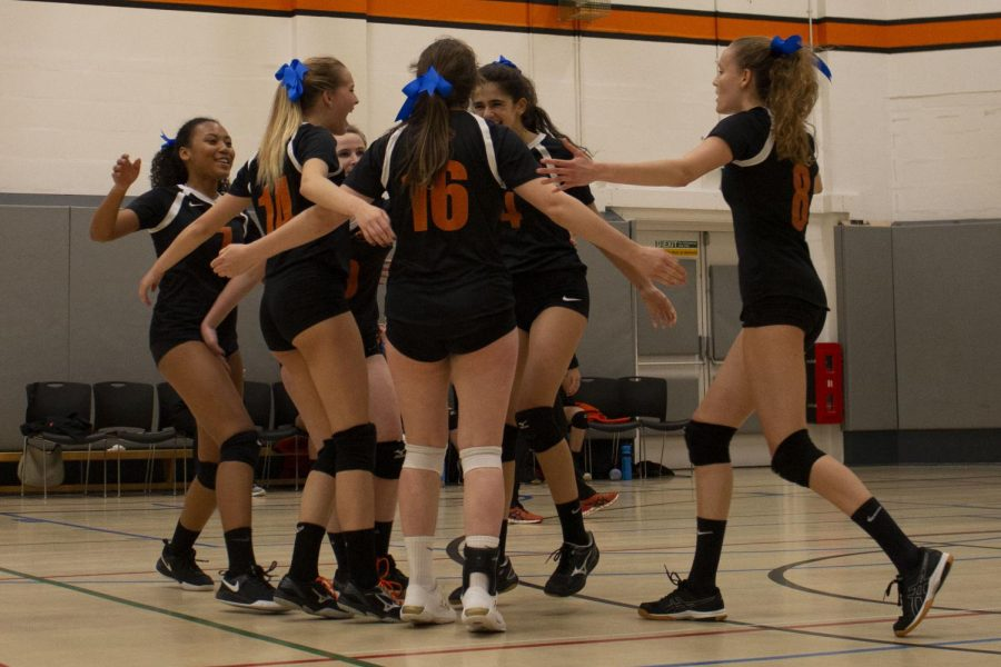 Members+of+the+Varsity+Girls+Volleyball+team+embrace+after+scoring+a+point+on+Cobham.+The+game+resulted+in+a+2-0+win+for+ASL.+The+blue+ribbons+worn+in+hair+were+in+support+of+the+Autism+Awareness+Club.