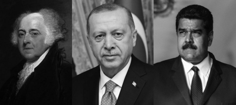 (Left to Right): Former U.S. President John Adams, Recep Tayyip Erdogan and Nicolás Maduro.