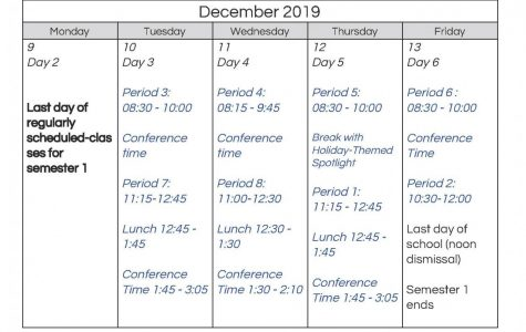 New end-of-semester schedule begins