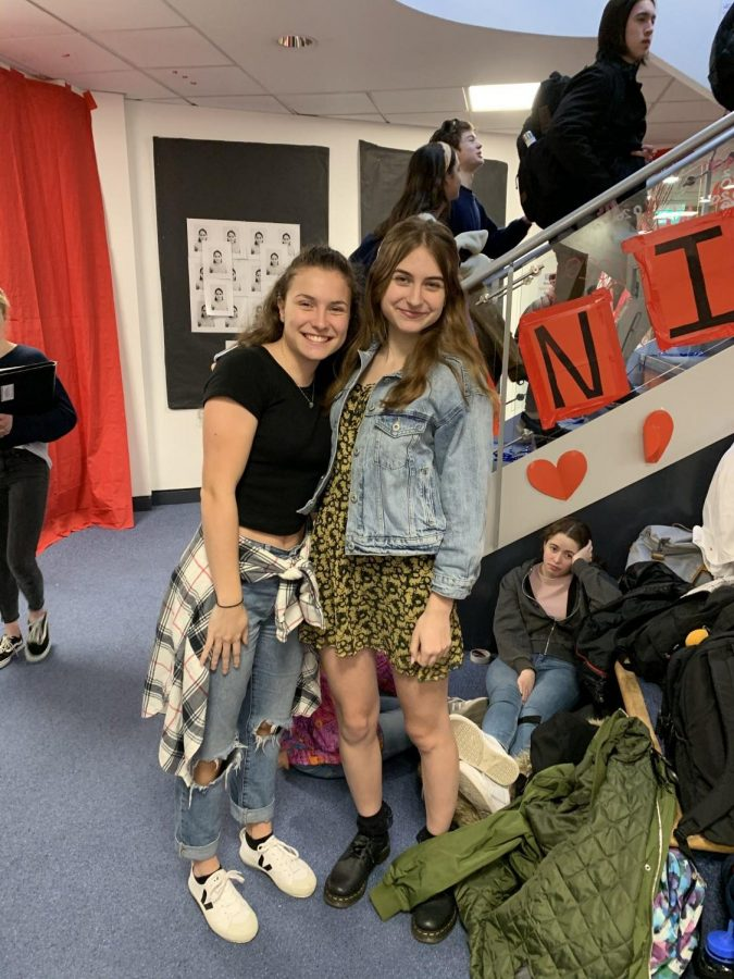 Isabella Mattera ('20) and Laura Boyle ('20) chose to wear denim to represent the 90s.