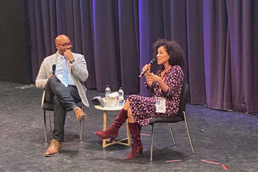 Karyn+Parsons+sits+down+with+Kwame+Alexander+for+an+innovative+conversation+in+front+of+a+crowd+of+faculty%2C+students+and+parents.