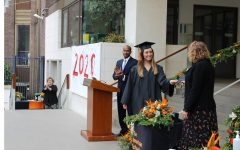 Sofia Van MIerlo ('20) accepts her diploma from Head of School Robin Appleby. Every Grade 12 student had an allotted 10 minutes to receive their diplomas on campus from Jun 3 to 5.