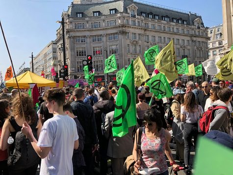 Extinction Rebellion protests against climate justice April 19. 2019 Oxford Circus, London. Extinction Rebellion conceded their most recent '10 days of Action' on Sept 10 against various climate change issues.