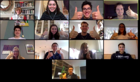 Members of the 2019-20 crew team meet virtually to stay connected during Distance Learning. The team is continuing to meet virtually for the fall season.