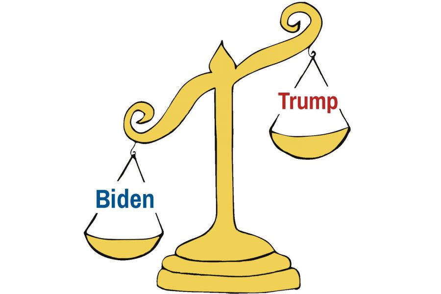 Republican and democratic students discuss voting for Biden because he is the lesser of two evils, rather than as their preferred candidate.