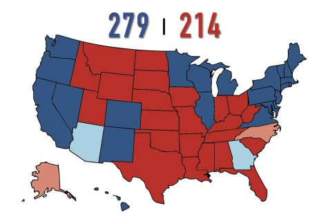 The current electoral map shows President-elect Joe Biden above the 270 vote threshold required to be elected the next president. Biden's running mate Vice President-elect Kamala Harris will be the first woman of color elected to the vice presidency.