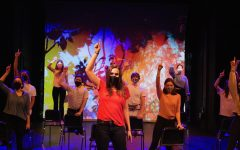 """Students rehearse the main number in the musical """"Fame."""" This was one of the few rehearsals in-person, as most took place over Zoom. The final production will be on the ASL website Dec. 18."""