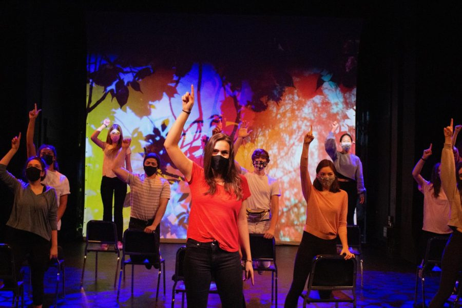 "Students rehearse the main number in the musical ""Fame."" This was one of the few rehearsals in-person, as most took place over Zoom. The final production will be on the ASL website Dec. 18."