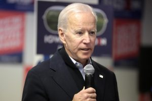 Joe Biden speaks in front of an audience at his presidential campaign office in Des Moines, Iowa Jan. 13, 2020. Biden has struggled with a speech disorder since a young age and it has persisted in his political career.