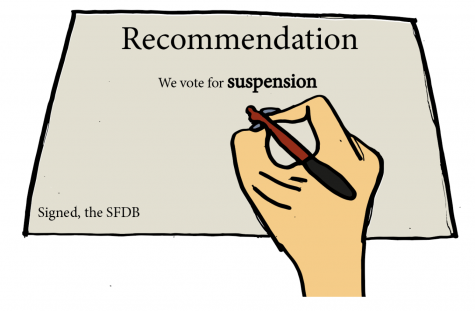 A member of the Student Faculty Disciplinary Board (SFDB) gives the administration their decided punishment for a severe infraction. The SFDB was created to host hearings for students found guilty of violating the ASL Code of Conduct and recommend their idea of an appropriate punishment to the administration.
