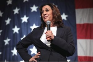 Vice President Kamala Harris speaking with attendees at the 2019 Iowa Democratic Wing Ding at Surf Ballroom in Clear Lake, Iowa. Harris has made history by becoming the first female, black and south Asian vice president in the U.S.