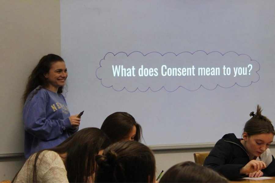 sabella Mattera ('20) leads an Aequitas Week session January, 2020. Due to COVID-19, the week has been moved to March, and students will attend split sessions with opportunities for activism on the second day of workshops.