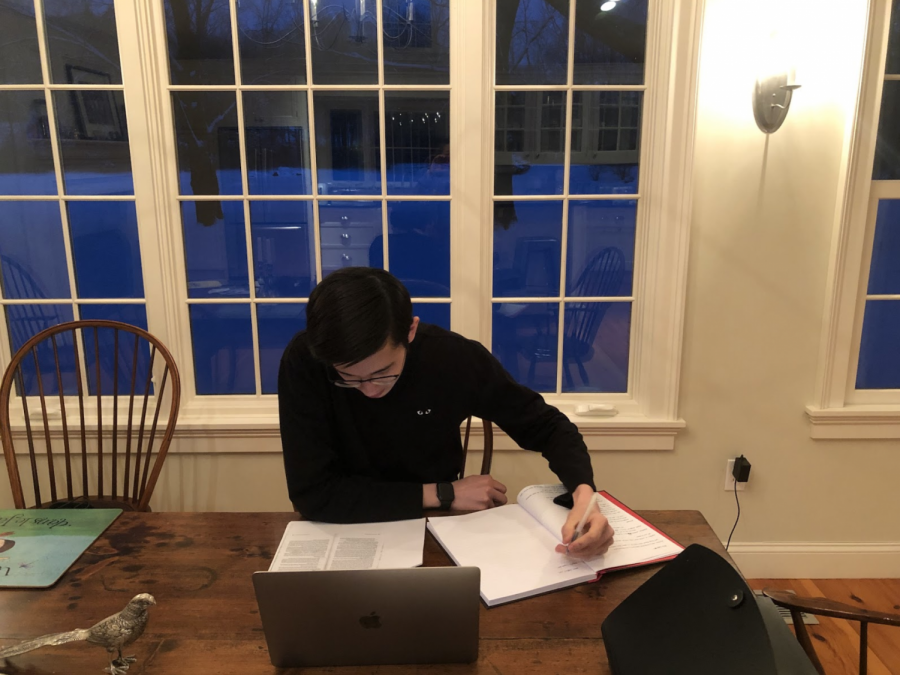 William Iorio ('22) revises for a class at 6:30 a.m. in Connecticut, equivalent to 11:30 a.m. in London. As all students are expected to attend synchronous Zoom classes, Iorio begins his classwork before dawn.