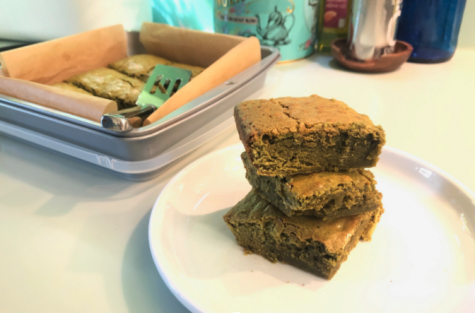White chocolate matcha brownies: a unique twist on a classic recipe. The first brownie was created during the 19th century, while the discovery of matcha dates all the way back to the 8th century.