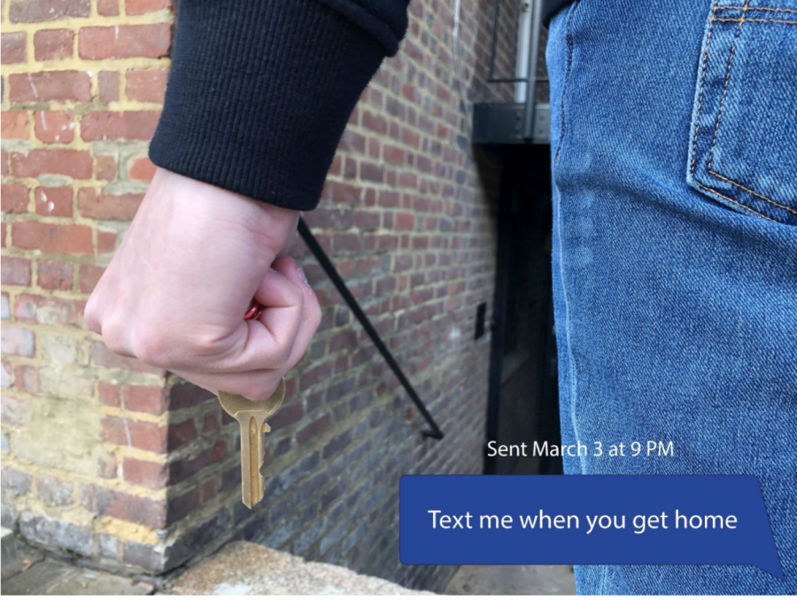 After the murder of Sarah Everard and recently surveyed statistic about sexual harassment was released, female students are more concerned for their safety on the street. A commonly suggested method for self defense is to keep a key held between your fingers in order to have more impact if an offender were to become violent. Photo illustration by Clara Martinez.