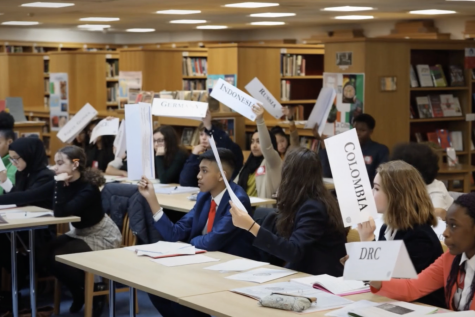 Model UN delegates raise their country plaques in the 2020 West London Conference. This year, the conference was hosted virtually via Zoom March 27, and it provided participants the opportunity to practice debate skills and gain additional experience with conference preparation and structure.