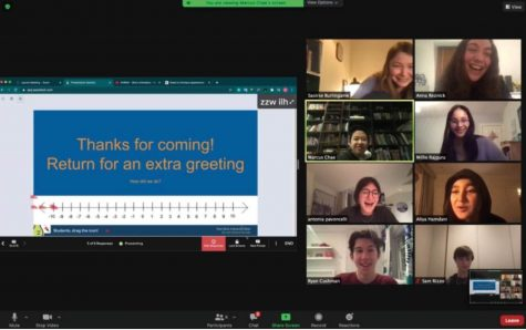 Theology Club members finish their meeting about karma and reincarnation Thursday, Feb. 11. Meetings are hosted by co-leaders Saoirse Burlingame ('24) and Marcus Chae ('24) every Thursday at 5:45 p.m. on Zoom.