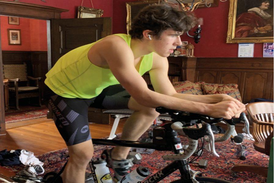 Arthur Sadrian ('23) completes a 45 minute workout on his bike at home. He typically biked six to seven days and spent two to three days per week working on different fundraising ideas.