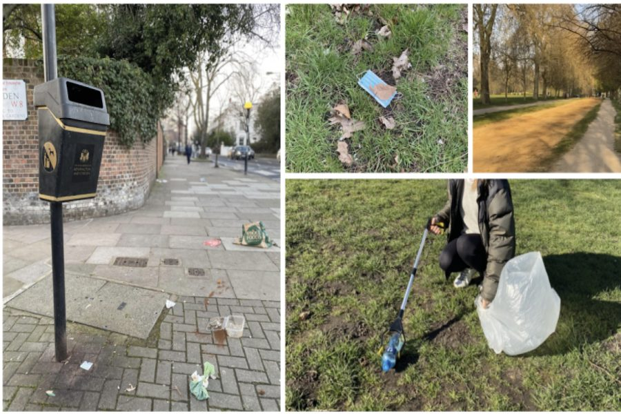 An+empty+bin+perches+above+a+trail+of+litter+in+Kensington.+While+the+COVID-19+pandemic+has+raised+personal+and+indoor+hygiene+practices%2C+the+culture+of+littering+prevails+outdoors.+