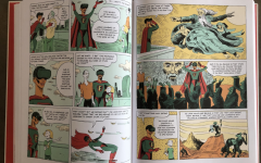 Pages 82-83 of 'Sapiens A Graphic History' by Yuval Noah Harari, David Vandermeulen (co-writer) and Daniel Casanave (illustrator).  Using comical dialogue and illustrations, Doctor Fiction explains to Zoe, Hariri's niece, the theory of the 'collective myth' as the foundation of society.