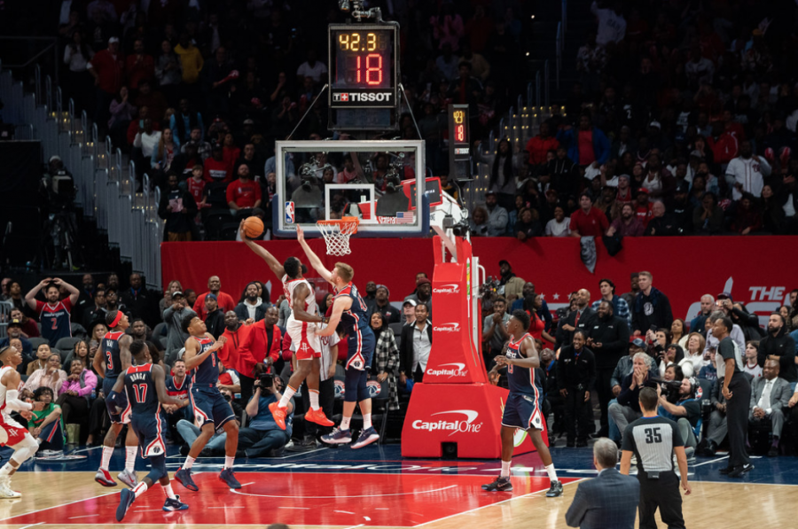 Ex Houston Rockets guard James Harden dunks on Washington Wizards player Davis Bertans. Harden was traded to the Brooklyn Nets this year. The Nets are currently second in the East with a 37-18 record, according to the NBA Website.