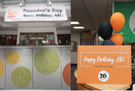 Signs and balloons hang around the school to celebrate Founders Day. American journalist and Teacher Stephen L. Eckard founded ASL in 1951 with only 13 students in his Knightsbridge flat.