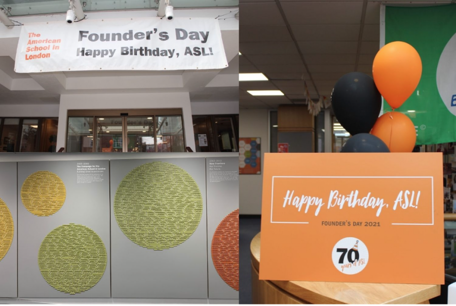 Signs+and+balloons+hang+around+the+school+to+celebrate+Founders+Day.+American+journalist+and+Teacher+Stephen+L.+Eckard+founded+ASL+in+1951+with+only+13+students+in+his+Knightsbridge+flat.