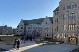 Elena Stathopoulos ('21) tours Boston College in February 2020. She visited the campus before the pandemic and subsequent shutdown of campus tours.