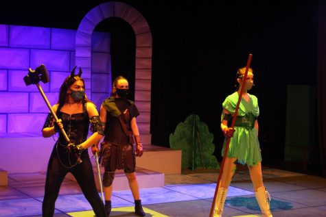 """Kleidi Likola ('21), Charlotte Fink ('22) and Danna Rubesh ('22) pose as their characters in the fantasy realm of """"Dungeons & Dragons"""" during a performance June 2. The play had 12 cast members that had been rehearsing for the production since January."""