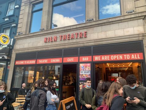 """British Literature students congregate outside the Kiln Theatre after viewing a performance of the play """"NW Trilogy"""" Sept. 29. The play consisted of three acts with a total duration of two hours."""
